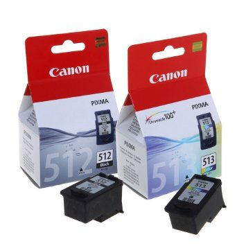 Genuine High Capacity Black Canon PG512 & Tri-Colour CL513 Ink Cartridge Multipack - (2969B001AA & 2971B001AA)