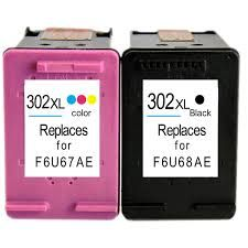 HP 302XL New Refurbished High Capacity Black & Tri-Colour Ink Cartridge - F6U67AE F6U66AE